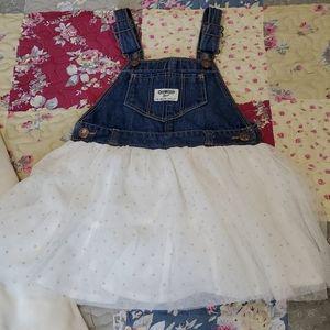 Oshkosh Denim & Polka Dots Dress 3T Holiday Wear!